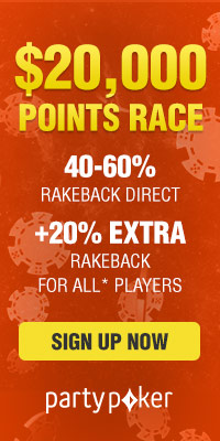 $20,000 points race + 20% extra rakeback at partypoker