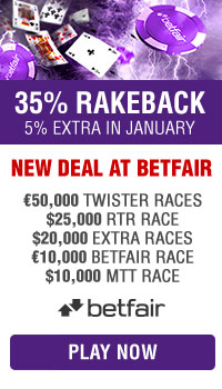 New deal at Betfair with extra rakeback in January